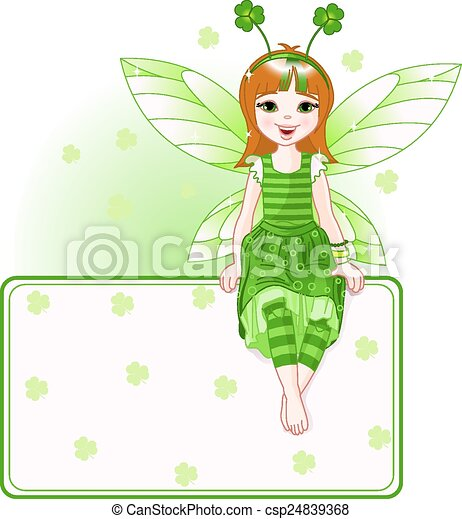 Little cute fairy place card for St - csp24839368