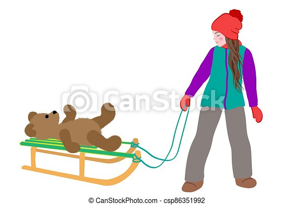 Little cute girl carries a teddy bear on sled in winter. Active leisure outdoors in winter. Cartoon vector illustration isolated on a white background. - csp86351992