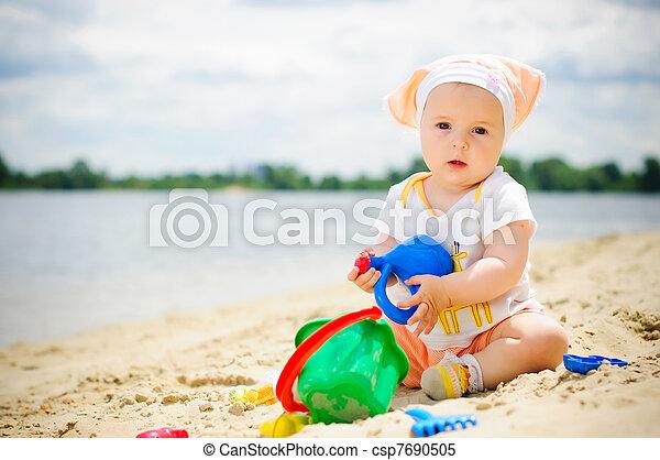 Little cute girl on the beach - csp7690505