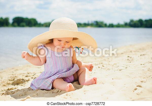 Little cute girl on the beach - csp7728772