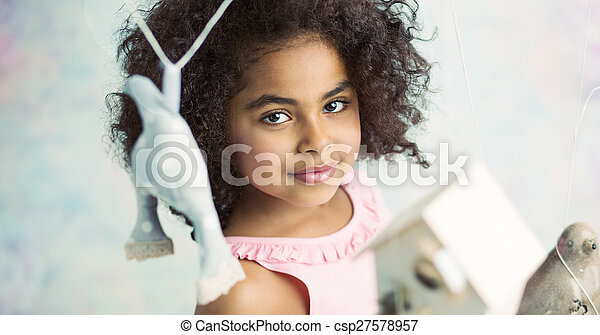 Little cute girl playing toys - csp27578957