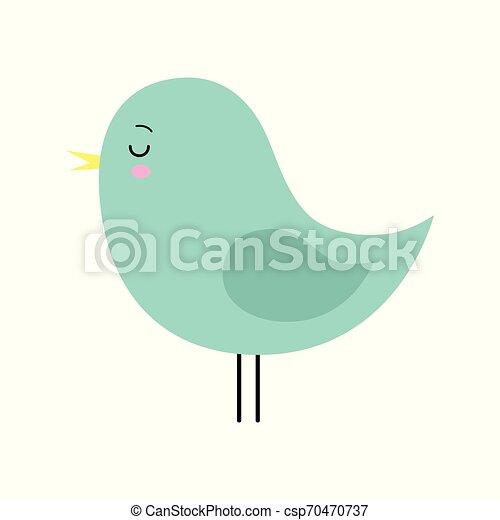 Little cute green spring bird design. Cartoon character. - csp70470737