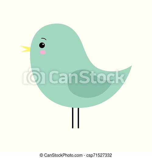 Little cute green spring bird design. Cartoon character. - csp71527332