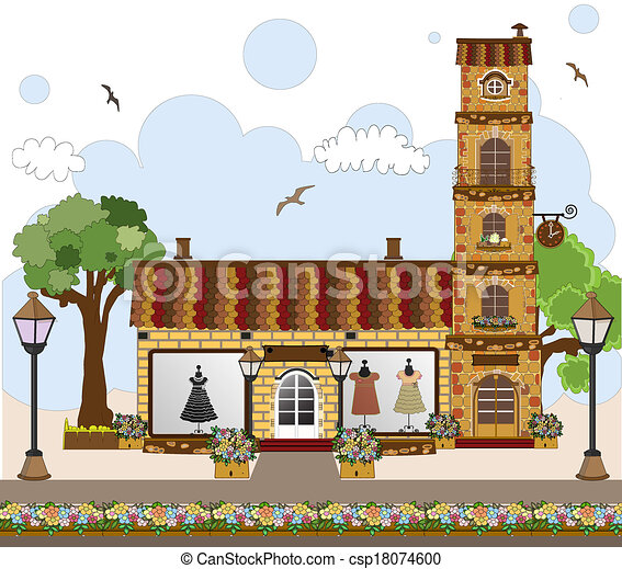 Vector Illustration Of Little Cute Retro House And Store
