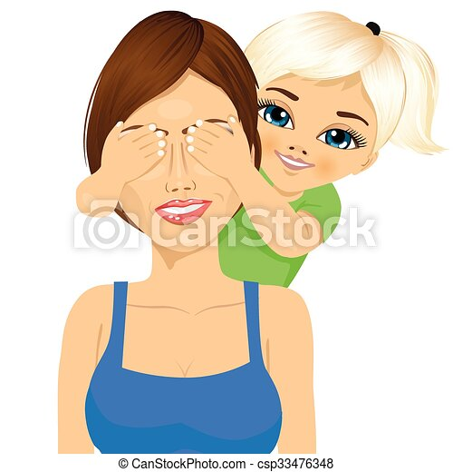little daughter covering her happy mother eyes with her hands smiling - csp33476348