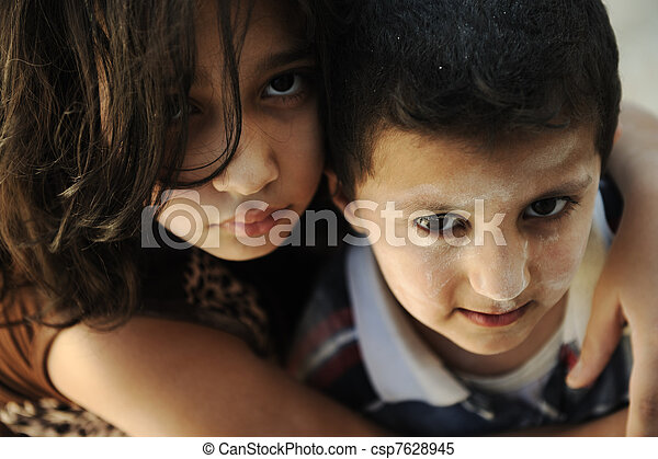 Little dirty brother and sister, poverty , bad condition - csp7628945
