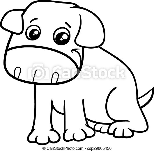 Little dog cartoon coloring book. Black and white cartoon ...