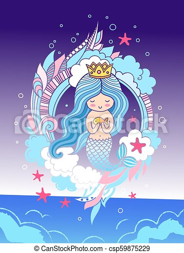 Little dreamy mermaid with crown, blue hair, surrounded by seaweed, clouds, starfish. - csp59875229