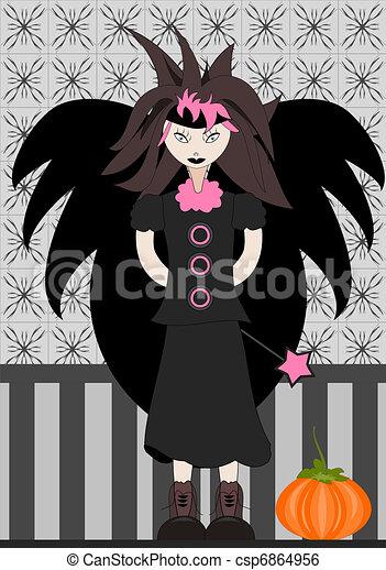 Little Emo Elf with big pumpkin - csp6864956