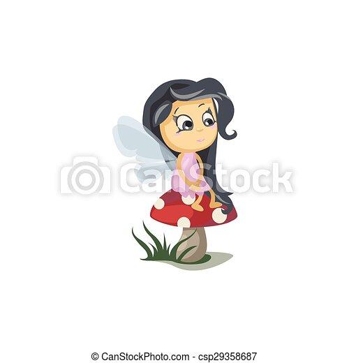 Little Fairy Sitting on a Mushroom - csp29358687