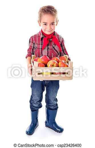 Little farmer boy holding apples - csp23426400