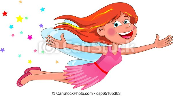 Little flying fairy in a pink dress - csp65165383