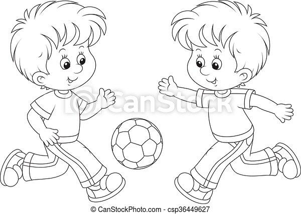 Two boys playing football - StoryWeaver
