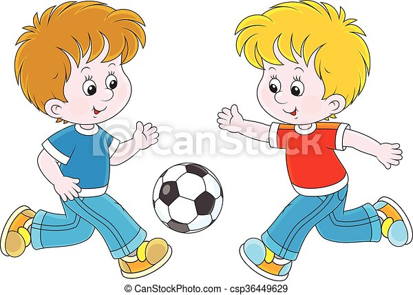 Little Football Players Vector Illustration Of Two Boys Playing Football