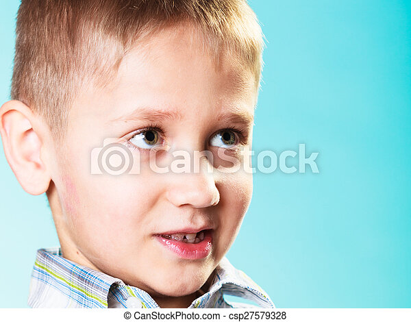 Little funny boy child portrait - csp27579328