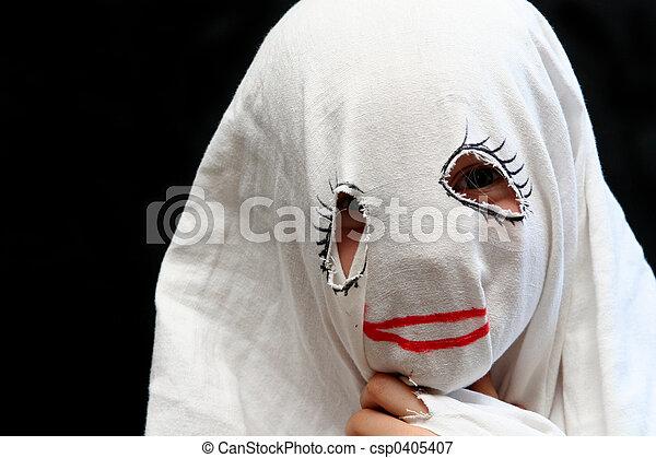 Little funny ghost - csp0405407 & Little funny ghost. Little girl in a halloween costume.