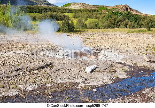 Little Geyser in Haukadalur hot spring valley - csp52691747