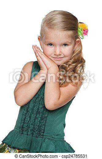 Little girl against the white - csp24785531