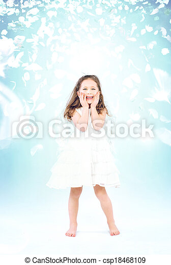 Little girl among flying rose petals - csp18468109