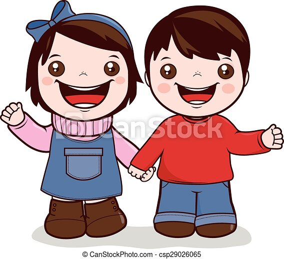 little girl and boy holding hands vector illustration of a girl and rh canstockphoto com