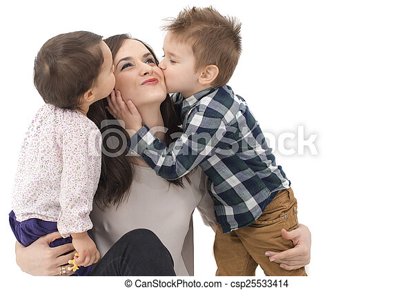little girl and boy kissing their mother - csp25533414
