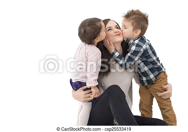 little girl and boy kissing their mother - csp25533419