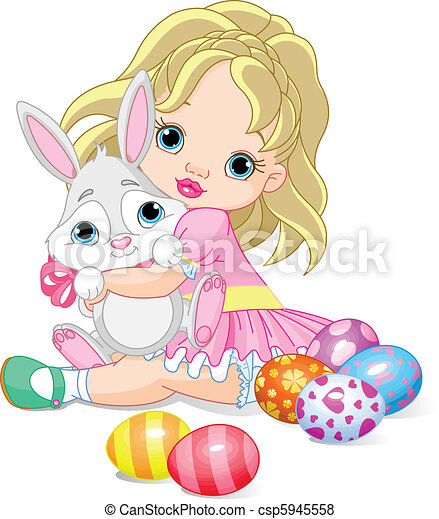 Little girl and Easter bunny  - csp5945558