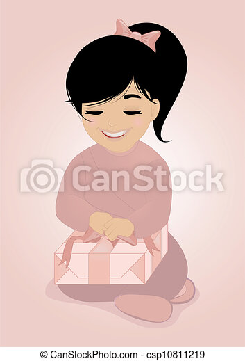 Little girl and gift - csp10811219