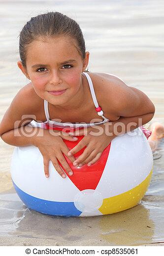 little girl at beach - csp8535061