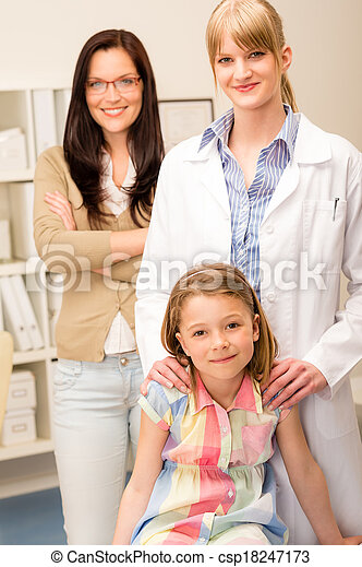 Little girl at pediatrician office with mother - csp18247173