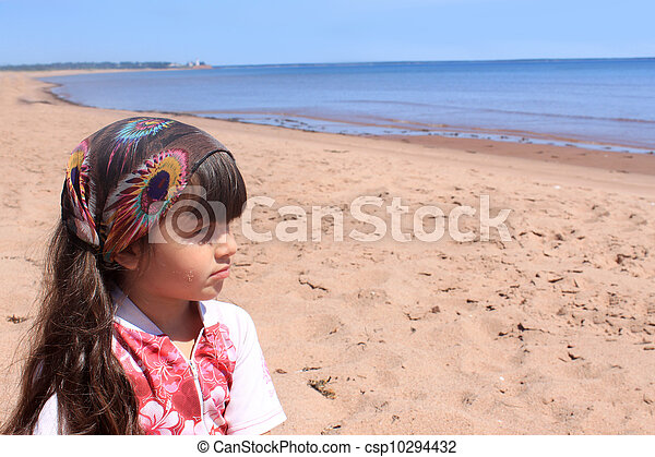 Little girl at the beach in P.E.I - csp10294432