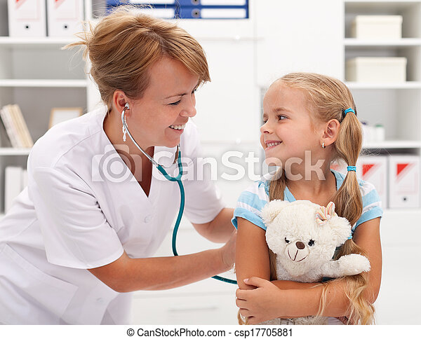 Little girl at the doctor for a checkup examination - csp17705881
