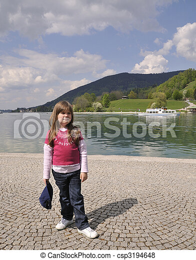 little girl at the lake - csp3194648