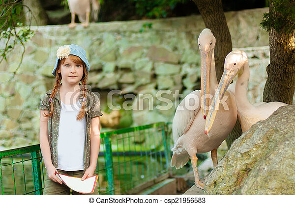 Little girl at the zoo  - csp21956583