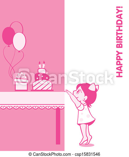 Little Girl Birthday Card With Cake Present And Balloons