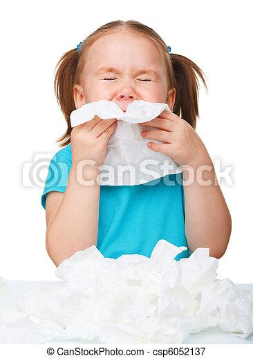 Little girl blows her nose - csp6052137