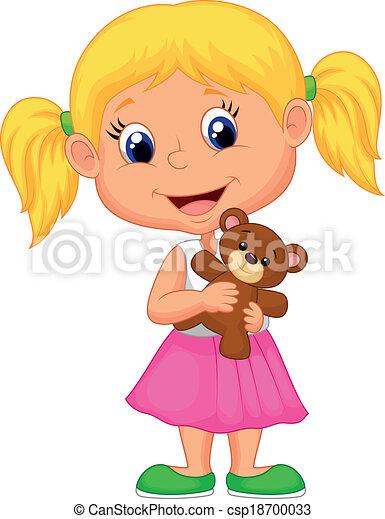 Vector illustration of little girl cartoon holding bear stuff.