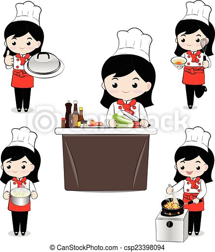 Little Girl Chef Little Girl Chef Cooking On White Background