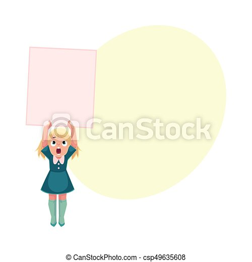 little girl child kid holding blank empty poster board message