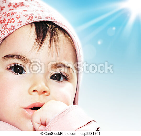 Little girl closeup portrait - csp8831701