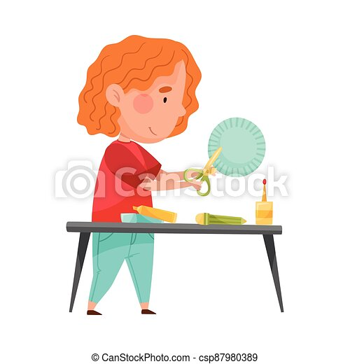 Little Girl Crafting Cutting Out Baking Cup with Scissors Vector Illustration - csp87980389