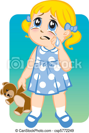 illustration of a little girl crying and pouting eps vectors rh canstockphoto com free clipart of girl crying clipart of little girl crying
