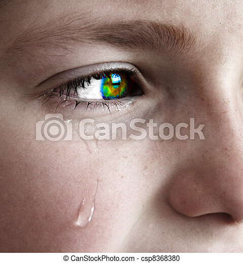 Little Girl Crying with Tears - csp8368380