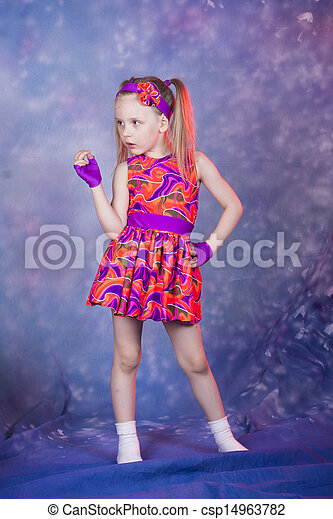 little girl dancing in colourfull costume - csp14963782