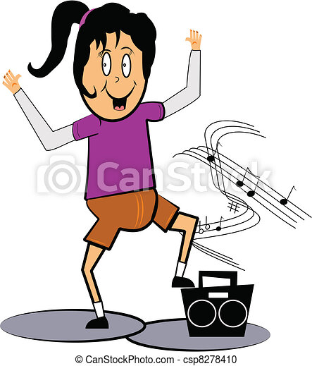 little girl dancing little girl with ponytail dancing and vector rh canstockphoto com Music Notes White Music Note Vector