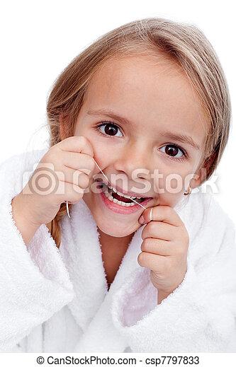 Little girl flossing - csp7797833