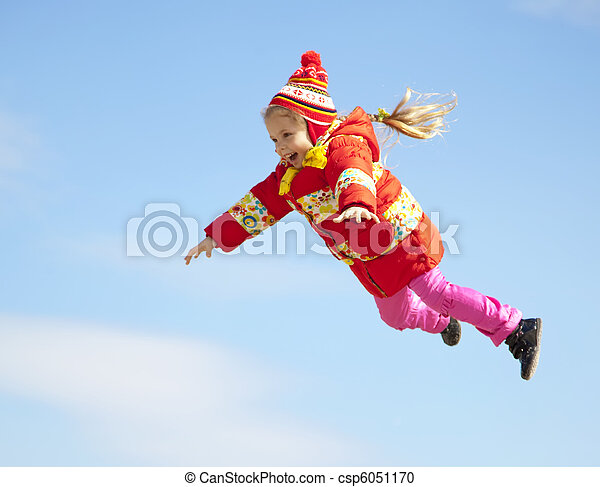 Little girl fly in the sky. - csp6051170