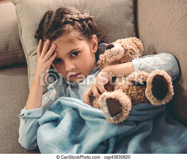 Little girl having a cold sick little girl covered in blanket is little girl having a cold csp43930820 altavistaventures Images