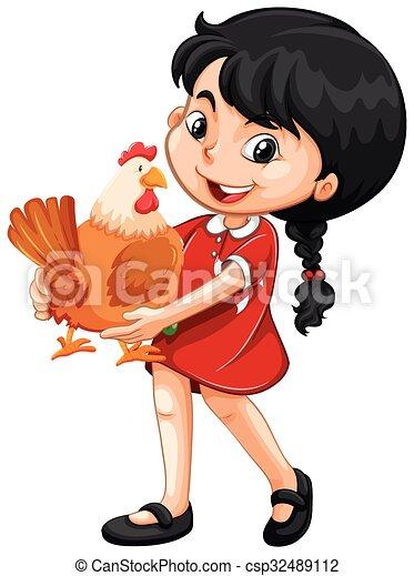Little girl holding a chicken - csp32489112