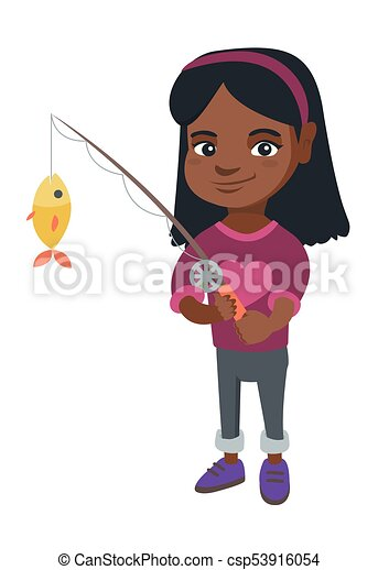 Little girl holding fishing rod with fish on hook for Little girl fishing pole